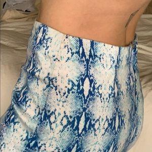 Electric blue Snake print pencil skirt